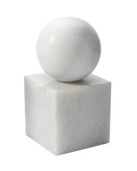 White Marble Minimalist Bookend by