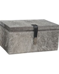 Small Grey Hairon Leather Box by