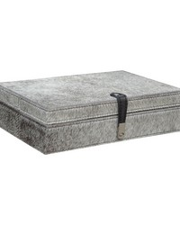 Large Grey Hairon Leather Box by