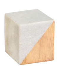 Small Marble and Wood Split Cube by