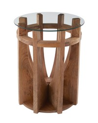 Wooden Sundial Side Table by
