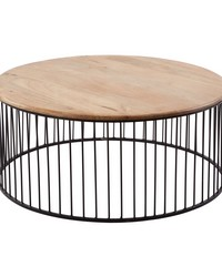 Short Teak Metal Carousel Table by