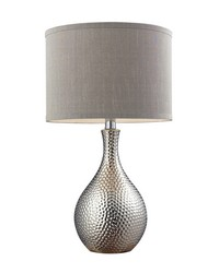 Hammered Chrome Plated Table Lamp With Grey Faux Silk Shade by