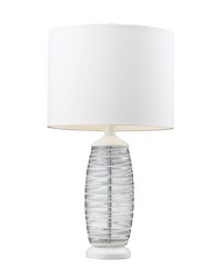 Blown Glass Table Lamp in Clear And White by