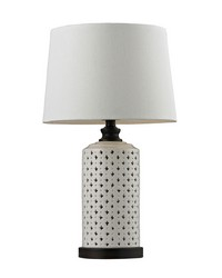 Ceramic Open Work Table Lamp With Wood Tone Base by