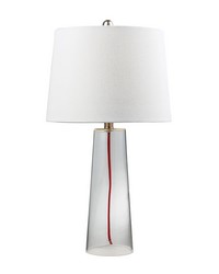 Clear Glass Table Lamp With Red Cord by