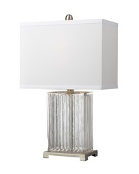 Ribbed Clear Glass Table Lamp in Brushed Steel by