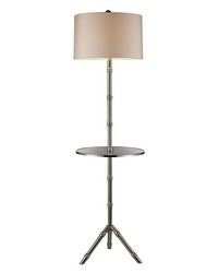 Stanton Table Lamp In Silver Plating With Glass Tray And Pure White Shade by
