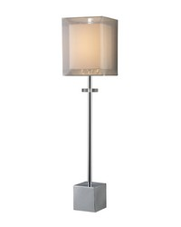 Exeter Table Lamp In Chrome With Double-Framed Shade by