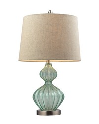 Smoked Glass Table Lamp In Pale Green With Metallic Linen Shade by
