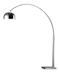 Penbrook Arc Floor Lamp In Chrome With White Marble Base by