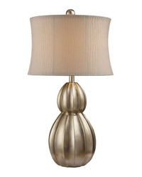 Marion Table Lamp In Antique Silver Leaf With Nanty White Shade by