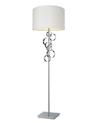 Avon Comtemporary Chrome Floor Lamp With Intertwined Circular Design by