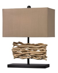 Natural Driftwood Table Lamp in Black With Caramel Shade by