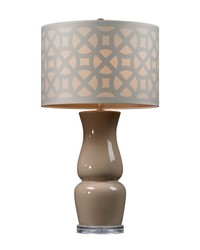 Gloss Ceramic Table Lamp in Taupe With Off White Shade by