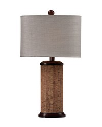 Cork Table Lamp in Brown With Light Beige Shade by