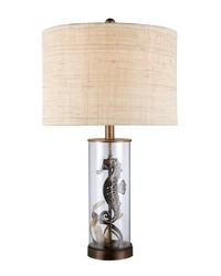 Largo Table Lamp In Bronze And Clear Glass With Natural Linen Shade by