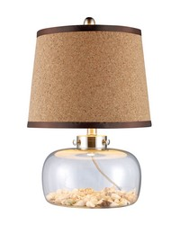 Margate Table Lamp In Clear Glass With Shells And Natural Cork Shade by