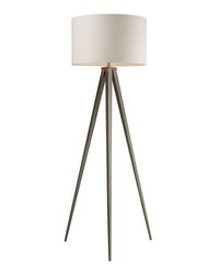 Salford Floor Lamp In Satin Nickel With Off White Linen Shade by