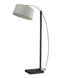 Logan Square Floor Lamp In Dark Brown With Off-White Linen Shade by