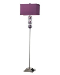 Alva Contemporary Floor Lamp In Black Nickel And Purple by
