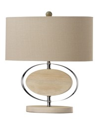 Hereford Bleached Wood Table Lamp in Chrome by