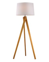 Wooden Tripod Floor Lamp in Natural Wood Tone by