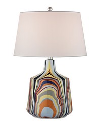 Technicolor Stripes Table Lamp With White Shade by