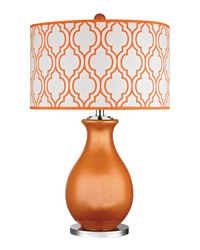 Thatcham Table Lamp In Tangerine Orange And Polished Nickel by
