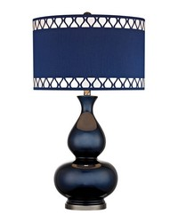 Heathfield Glass Table Lamp in Navy Blue by