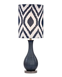 Navy Blue Textured Ceramic Accent Lamp With Printed Shade by