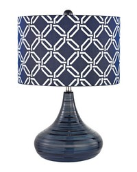 Peebles Ceramic Table Lamp In Navy Blue With Printed Shade by