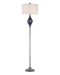 Chester Glass Floor Lamp in Navy And Black Nickel by
