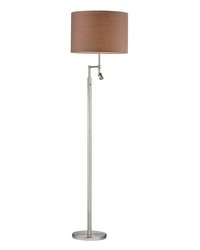 Beaufort Floor Lamp in Satin Nickel with Adjustable LED Reading Light by