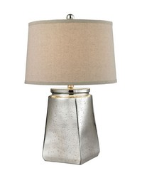 Tapered Square Table Lamp in Silver Mercury by