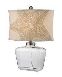 Clear Glass Bottle Table Lamp in Polished Nickel by