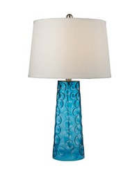 Hammered Glass Table Lamp in Blue With Pure White Linen Shade by