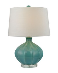 Organic Ceramic Table Lamp in Seafoam Glaze by