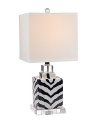 Animal Print Table Lamp in Navy and White Ceramic by