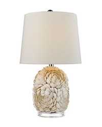 Natural Shell Table Lamp With Off White Linen Shade by