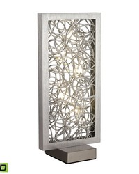 Basinger Abstract Metalwork LED Table Lamp in Silver  by