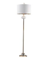 White Ribbed Cube Floor Lamp by