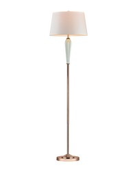 Mint Ribbed Floor Lamp With Gold Accents by
