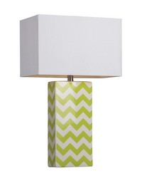 Chevron Print Ceramic Table Lamp In Green And White by