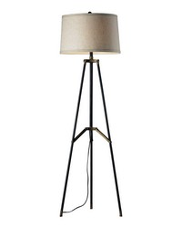 Functional Tripod Floor Lamp in Restoration Black and Aged Gold by
