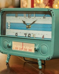 Retro Tv Table Clock Blue by