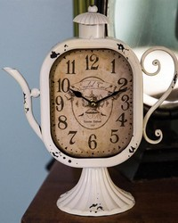 Teapot Table Clock Cream by