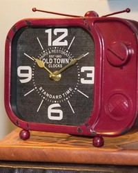 Retro Tv Table Clock Red by