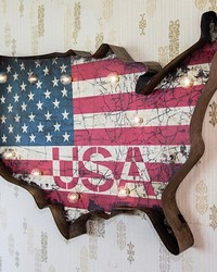Usa Lighted Wall Decor by