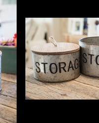 Metal/wood Storage Canister Set  by